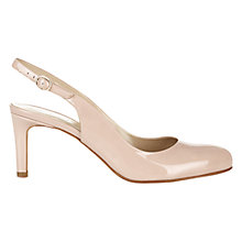 Buy Hobbs Lizzie Leather Sling Back Court Shoes, Light Nude Patent Online at johnlewis.com