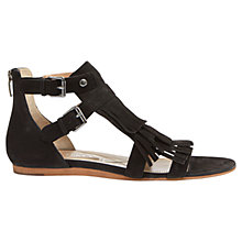 Buy Mint Velvet Sienna Fringe Leather Sandals, Black Online at johnlewis.com