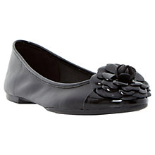 Buy Dune Haeley Corsage Leather Ballerina Pumps, Black Online at johnlewis.com