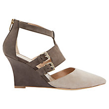Buy Mint Velvet Amy Buckle Wedge Leather Court Shoes, Mink Online at johnlewis.com
