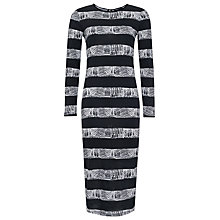 Buy French Connection Crayon Stripe Midi Dress, Black / White Online at johnlewis.com