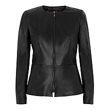 Buy Jaeger Leather Jacket, Black Online at johnlewis.com