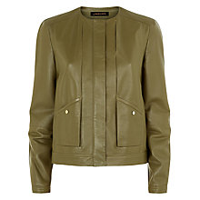 Buy Jaeger Leather Jacket, Dusky Green Online at johnlewis.com