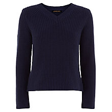 Buy Jaeger Cotton Ribbed V-Neck Jumper, Peacoat Online at johnlewis.com