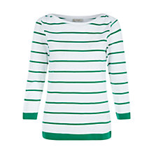 Buy Hobbs Millie T-Shirt, Lawn Green White Online at johnlewis.com