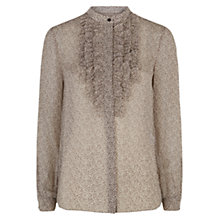 Buy Hobbs Libby Ruffle Blouse, Natural Chocolate Online at johnlewis.com