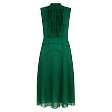 Buy Hobbs Libby Ruffle Dress, Lawn Green Black Online at johnlewis.com
