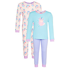 Buy John Lewis Girl Owl Print Pyjamas, Pack of 2, Multi Online at johnlewis.com