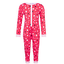 Buy John Lewis Girls' Star Print Glow In The Dark Onesie, Pink Online at johnlewis.com