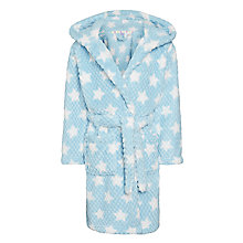 Buy John Lewis Girl Star Waffle Hooded Robe, Blue Online at johnlewis.com