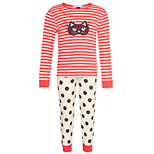 Buy John Lewis Girl Cat Mask Glow In The Dark Pyjamas, Pink/Multi Online at johnlewis.com