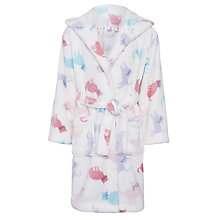 Buy John Lewis Girl Rainbow Cat Print Robe, White/Multi Online at johnlewis.com