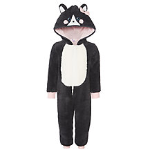 Buy John Lewis Girls' Glitter Faux Fur Cat Onesie, Black/White Online at johnlewis.com