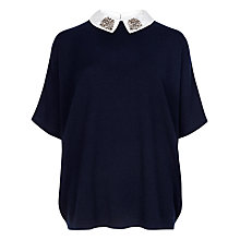 Buy Ted Baker Cashmere Easy Sweater With Embellished Collar, Blue Online at johnlewis.com