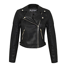 Buy Miss Selfridge Cropped Biker Jacket, Black Online at johnlewis.com