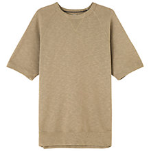 Buy Jigsaw Loopback Short Sleeve Sweatshirt, Light Olive Online at johnlewis.com