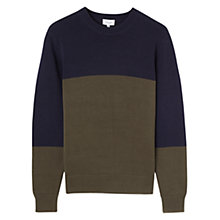 Buy Jigsaw Bi Colour Crew Neck Jumper, Navy/Olive Online at johnlewis.com