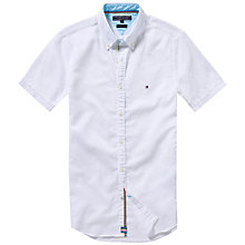Buy Tommy Hilfiger Cotton Linen Short Sleeve Shirt, Classic White Online at johnlewis.com