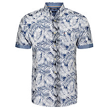 Buy Tommy Hilfiger Leaf Print Short Sleeve Shirt, Dutch Navy/Classic White Online at johnlewis.com