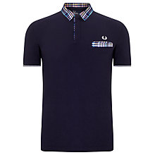 Buy Fred Perry Bold Check Woven Collar Polo Shirt, Navy Online at johnlewis.com