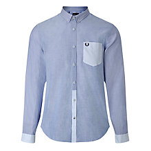 Buy Fred Perry Yarn Dyed Texture Shirt, Royal Online at johnlewis.com