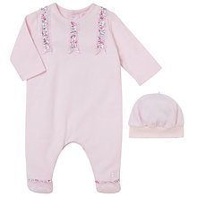 Buy Emile et Rose Felicia Ruffle Sleepsuit And Hat Set, Pink Online at johnlewis.com