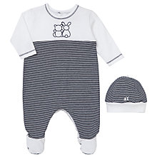 Buy Emile et Rose Finnegan Stripe Sleepsuit And Hat Set, Navy/White Online at johnlewis.com