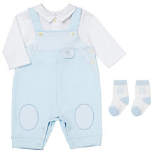 Buy Emile et Rose Baby Flint Dunagrees Shirt and Socks Set, Pale Blue/White Online at johnlewis.com