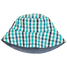 Buy Polarn O. Pyret Children's Reversible Check Sun Hat, Blue Online at johnlewis.com