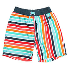 Buy Polarn O. Pyret Children's Stripe Swimshorts, Blue Online at johnlewis.com