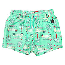 Buy Polarn O. Pyret Children's Car Print Swimshorts, Green Online at johnlewis.com