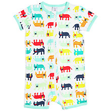 Buy Polarn O. Pyret Baby Cat Print Sleepsuit, Blue Online at johnlewis.com