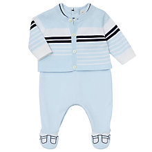 Buy Emile et Rose Feller Sleepsuit And Knit Cardigan Set, Blue Online at johnlewis.com