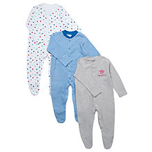 Buy John Lewis Baby Stars and Stripes Sleepsuits, Pack of 3, Blue/Grey Online at johnlewis.com