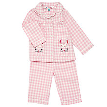 Buy John Lewis Baby Gingham Rabbit Pocket Pyjamas, Pink Online at johnlewis.com