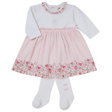 Buy Emile et Rose Baby Flora Flower Dress and Tights Set, Pink/White Online at johnlewis.com