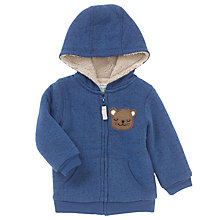 Buy John Lewis Baby Bear Fleece Hoodie, Blue Online at johnlewis.com