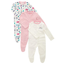 Buy John Lewis Baby's London Sleepsuits, Pack of 3, Pink Online at johnlewis.com