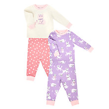 Buy John Lewis Baby's Cat Pyjamas, Pack of 2, Multi Online at johnlewis.com