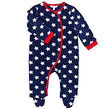 Buy John Lewis Baby Star Print Fleece Romper, Blue Online at johnlewis.com