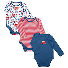 Buy John Lewis Baby London Bodysuits, Pack of 3, Navy/Red Online at johnlewis.com