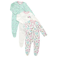 Buy John Lewis Baby Woodland Sleepsuits, Pack of 3, Pink/Multi Online at johnlewis.com