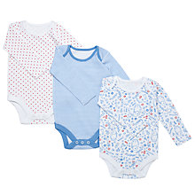 Buy John Lewis Baby's Assorted Bodysuits, Pack of 3, Blue/Multi Online at johnlewis.com