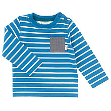 Buy John Lewis Baby Stripy Pocket Top, Blue/White Online at johnlewis.com