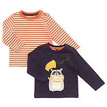 Buy John Lewis Baby's Long Sleeve Raccoon Tops, Pack of 2, Navy Online at johnlewis.com