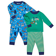 Buy John Lewis Baby's Woodland Pyjamas, Pack of 2, Green Online at johnlewis.com