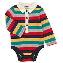 Buy John Lewis Baby Long Sleeve Rugby Bodysuit, Multi Online at johnlewis.com