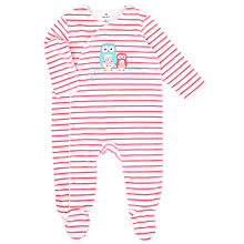 Buy John Lewis Baby Owl Velour Sleepsuit, Pink Online at johnlewis.com
