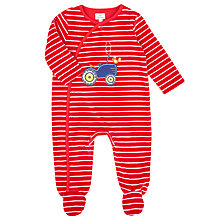 Buy John Lewis Baby's Tractor Velour Sleepsuit, Red Online at johnlewis.com