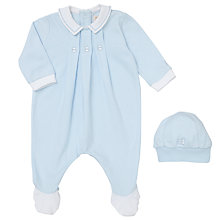 Buy Emile et Rose Baby Three Fix Pleat Romper and Hat Set, Pale Blue Online at johnlewis.com